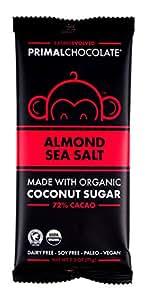 Eating Evolved - Organic Primal Chocolate, Almond Sea Salt, 72% Cacao, 2.5 Ounce Bar (8 count)