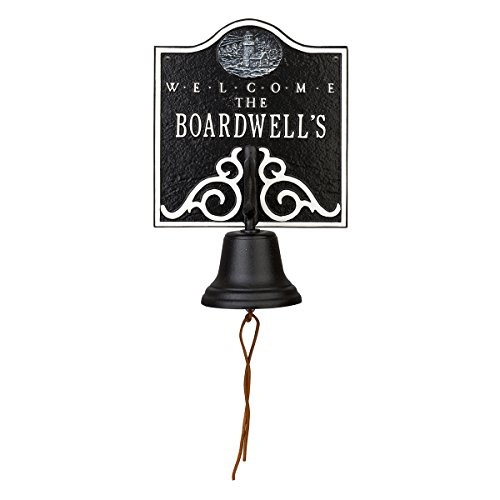 Bell Welcome Plaque (Lighthouse Personalized Bell Welcome Plaque - Black & White)