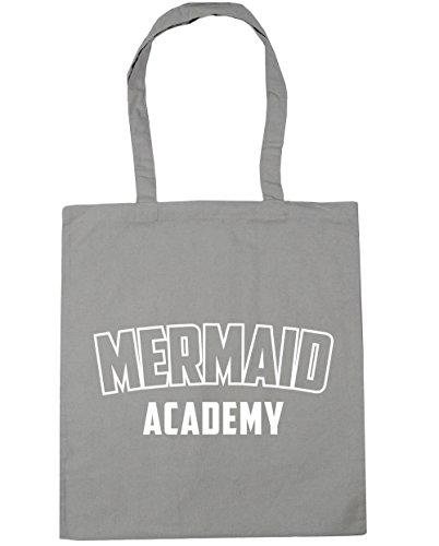 HippoWarehouse Mermaid Academy Tote Shopping Gym Beach Bag 42cm x38cm, 10 litres Light Grey