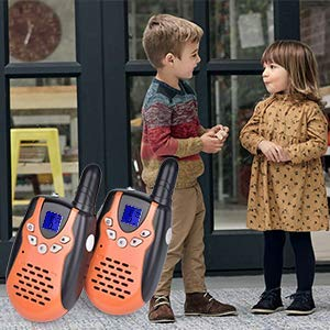 Swiftion Walkie Talkies for Kids Walkie Talkies for Child with Charger Batteries 22 Channel Walky Talky 0.5W FRS/GMRS Long Range 2 Way Radios (Orange, Pack of 2) by Swiftion (Image #5)