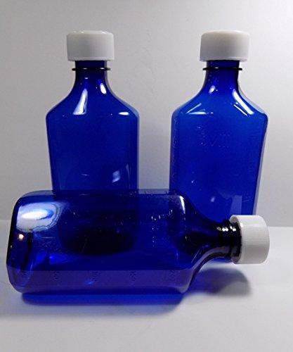Bottle Medicine Blue - 2 Ounce RX Medicine/Liquor Bottles w/Caps Cobalt Blue Lot of 10 Brand New Graduated Oval
