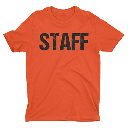 NYC FACTORY Neon Orange Staff T-Shirt Front & Back Print Mens Event Shirt Tee (Large) ()
