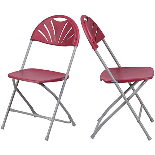 Modern Premium Plastic Folding Chairs Ventilated Fan Back Design Double Support Rails 18 Gauge Powder Coated Steel Frame Indoor-Outdoor Events School Home Office Furniture - Set of 6 Burgundy #2227 ()