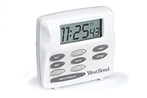 """Focus Foodservice 40053 West Bend Digital Timer, Triple Timer with Clock, 2-1/2"""" x 3"""" x 1"""""""