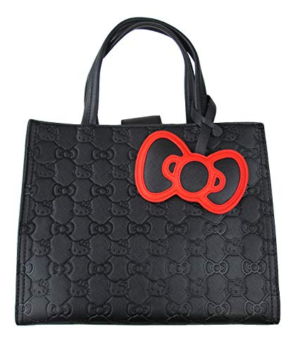 Loungefly Hello Kitty Bow Quilted Tote Purse (One Size, Black)