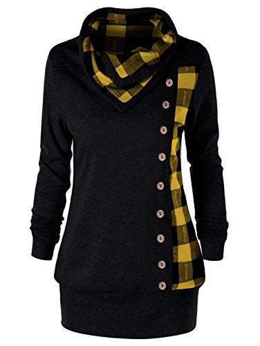 YTJH Women's Plus Size Cowl Neck Single Breasted Long Sleeves Plaid Sweatshirt(Yellow,XL)