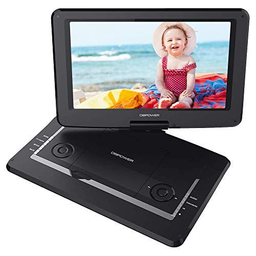 DVD Player with Rechargeable Battery, Swivel Screen, Supports SD Card and USB, with 1.8M Car Charger and 1.8M Power Adaptor (Black) ()