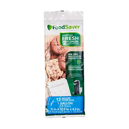 (FoodSaver FSFRBZ0316-000 1-Gallon Vacuum Zipper Bags, 12 Count, Multi)