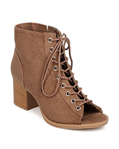 Qupid FK25 Women Faux Suede Peep Toe Lace Up Perforated Chunky Heel Bootie - Taupe