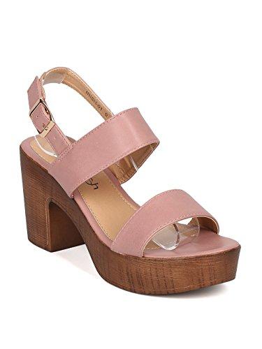 Alrisco Women Open Toe Block Heel Sandal - Faux Wooden Chunky Heel - Slingback Sandal - GI48 by Mauve Leatherette (Size: (Wooden Platform Sandals)
