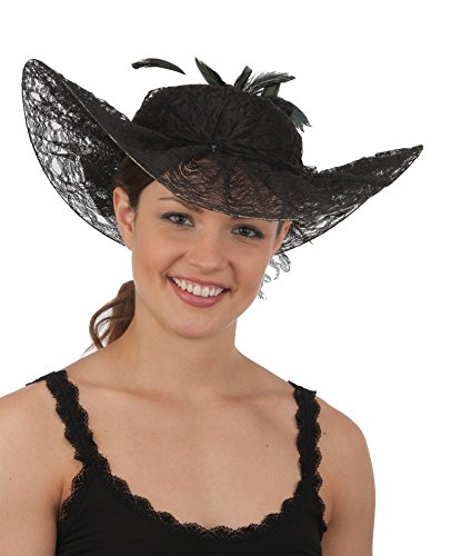[Black Southern Belle Hat With Feathers 26671 (7 3/8)] (Southern Belle Costumes Adult)