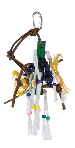 Living World Small Wood Peg with Ropes & Leather Strips with Beads