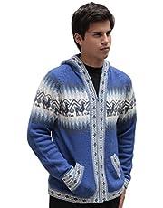 Mens Alpaca Wool Knitted Jacket Hooded Hood Sweater - Little Llamas Design