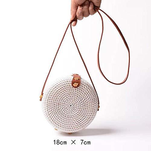 Straw Rattan Crossbody Bag | Bali Ata Woven Purse With Leather Strap