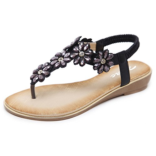 Zicac Women's Floral Rhinestone Thong Sandal Clip Toe Low Wedges Shoes Summer Flat Sandals for Women Black ()