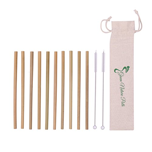 Bamboo Drink - Bamboo Straws – Set Of 10 Reusable Straws, 2 Cleaning Brushes & Linen Storage Bag – Eco-Friendly Dishwasher Safe Biodegradable Natural Organic Bamboo Straws For Cold Drinks & Hot Beverages