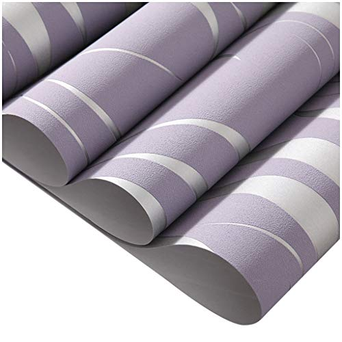 - HJuyYuah Silver 3D Non-woven Wave Stripe Embossed Wallpaper Rolls Living Room Decor 10m (Purple)