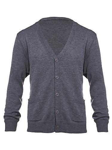 Yarn Art Mens Big and Tall Knit Long Sleeve V-Neck Two Pocket Cardigan Sweater CharcoalGrey 2X