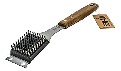 Barbecue Grill Brush and Scraper - Extended, Large Wooden Handle and Stainless Steel Bristles - No Scratch Cleaning for Any Grill: Char Broil & Ceramic - BBQ-Aid