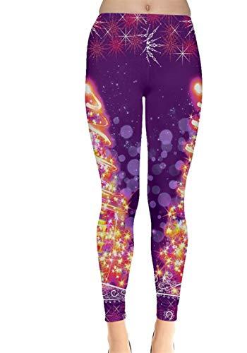 CowCow Womens Elegant Xmas Tree Purple Lights Leggings - 2XL (Elegant Christmas Tree)