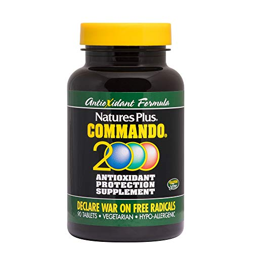 Natures Plus Commando 2000-90 Vegetarian Tablets - Antioxidant Protection Supplement with Vitamins A, C, E, Zinc & Herbs, Supports Free Radical Defense - Gluten Free - 45 Servings
