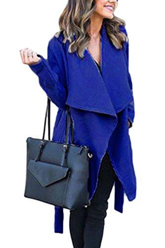 De Mujeres Oversize Belted De Lana Azul Abrigo Prendas Invierno Abierto Solapa Solid Abrigo Frontal TxwTqPB6