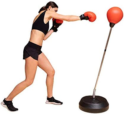 Protocol Boxing Ball Set with Punching Bag, Boxing Gloves, & Adjustable Height Stand – Strong Durable Spring Withstands Tough Hits for Stress Relief & Fitness