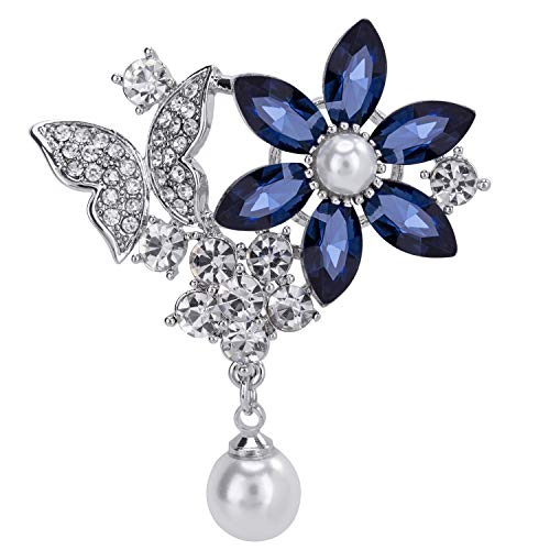 VVANT Brooches for Women with Crystal Sliver Flower Pearl Brooch Pins,Fashion Brooch Gifts for Women's Day/Daily/Birthday(Butterfly & Flower Sliver)