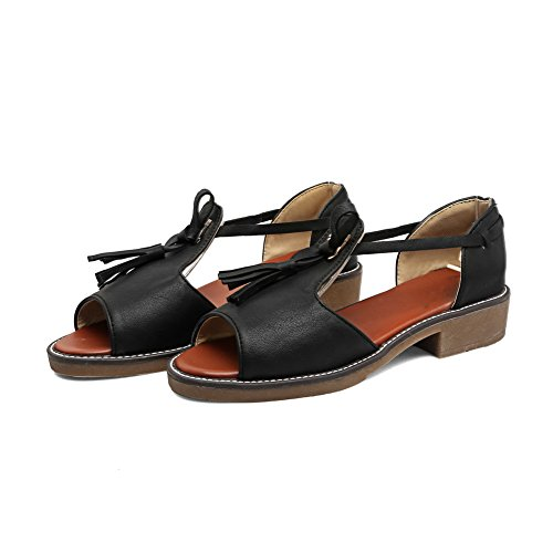 AdeeSu Womens Solid Not_Water_Resistant Fashion Urethane Sandals SLC03797 Black Es37K25kJ