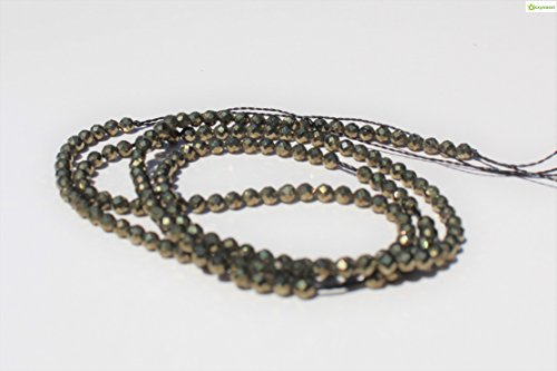 - Pyrite, 2mm Natural, Energy Gemstone | Healing Power for Jewelry Making | Loose Beads | 1strand 15.5 inch (115-130 Beads) | Faceted Roudell Bead | Oxxysaon