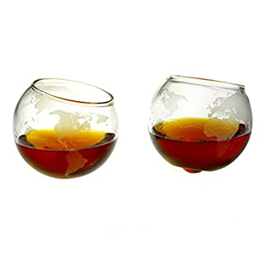 Etched Spinning / Rocking Globe Whiskey Glass - 10oz Glass for Scotch, Rum, Tequila or Bourbon – Old Fashioned / Rocks Glasses from Prestige Decanters (Set of Two)