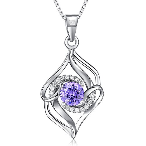 Joyfulshine Women 925 Sterling Silver Necklace Cubic Zirconia Crystal Love Pendant for Ladies Girls