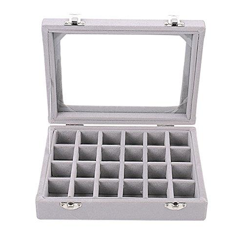 (Sky Piea 24 Grid Velvet Glass Jewelry Box Jewellery Organiser Earring Ring Storage Holder Case Box (Grey))