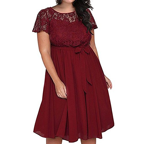 (【MOHOLL】 Women's Scooped Neckline Floral lace Top Plus Size Cocktail Party Midi Dress Red)