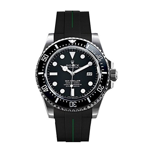 [ラバービー] RubberB ラバーベルト ROLEX シードゥエラー4000専用ラバーベルト(尾錠付き)(ブラック×グリーン)※時計は付属しません(Watch is not included)[並行輸入品]  B01I6I5VWY