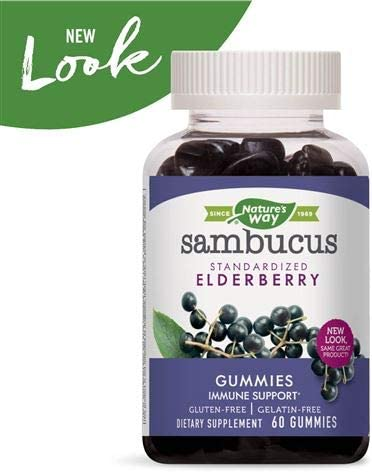 Nature s Way Sambucus Elderberry Gummies, Herbal Supplements with Vitamin C and Zinc, Gluten Free, Vegetarian, 60 Gummies Packaging May Vary , Pack of 5