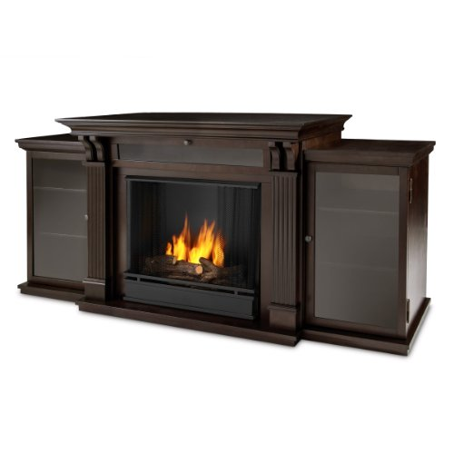 Real Flame Calie Entertainment Center Ventless Gel Fireplace - Dark Walnut