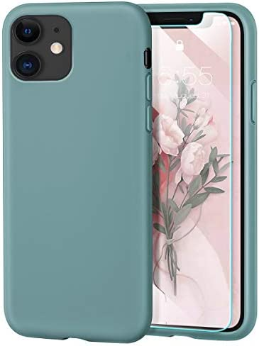 MILPROX iPhone 11 Case with Screen Protector, Liquid Silicone Gel Rubber Shockproof Slim Shell with Soft Microfiber Cloth Lining Cushion Cover for iPhone 11 6.1 inch (2019)-Pine Green