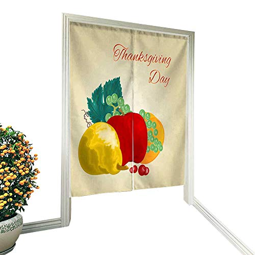 Mikihome Door Panel curtainjapanese Door Curtain panelsThanksgiving Day Fruits pear Apple Orange Grape Wine celebratory Food Vintage Vector Illustration editable 32