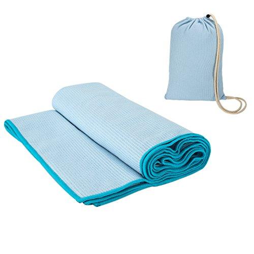 Couverture de Yoga Chaud Serviettes de Tapis de Yoga en Microfibre Sans Glissement avec Sac de Voyage 190 x 68 cm - Bleu Claire