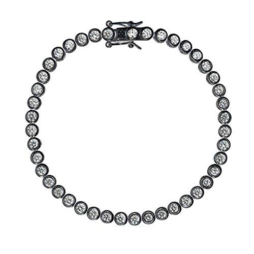 Sterling Silver Black 3mm Round Cut Bezel Set Tennis - Inch 7 Round Bezel 3mm