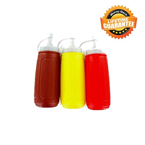 Condiment Containers Dispenser Picnic Table Set Ketchup and Mustard Squeeze Bottles 3 Squeeze Bottle Dispensers for Camping Cookware Picnic Baskets and Picnic Time Great Grill Accessories