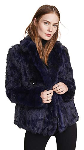 Adrienne Landau Women's Textured Rabbit Pea Coat, Navy, Blue, Medium ()