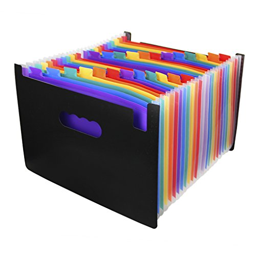 olored Accordion Expanding File Foler w/ Top Tab -- Portable A4 File Sorter Plastic Document Resume Divider File Organizer Jacket,School Office Stationery Supplies ()