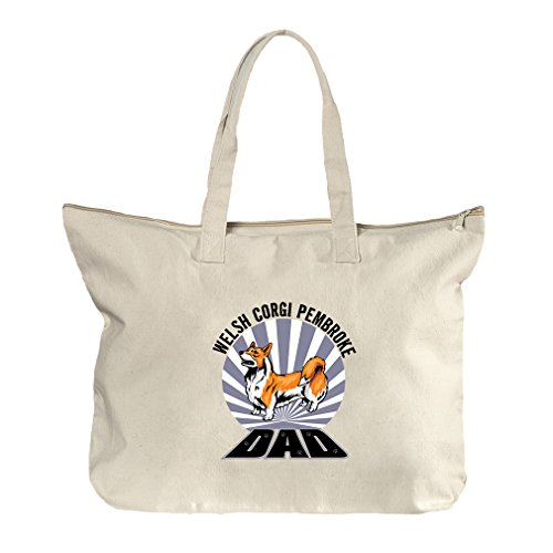 Dad Welsh Corgi Pembroke Dog Canvas Beach Zipper Tote Bag - Center Pembroke Shopping