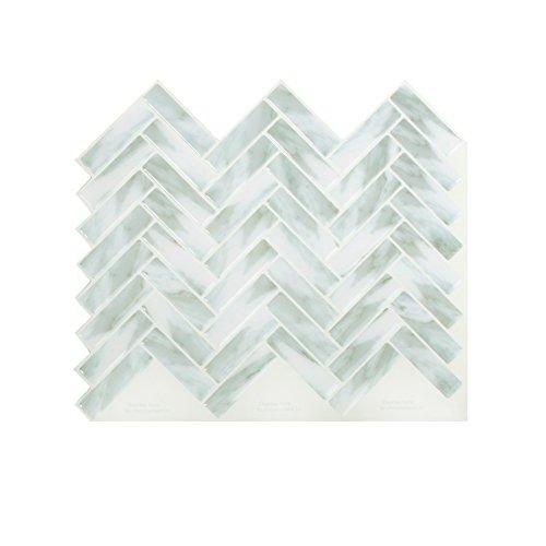 Peel and Impress - Easy DIY Peel and Stick Adhesive Backsplash Tiles, 24052 Sky Blue Herringbone, 11