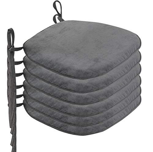 Nobildonna 6 Pack DimGray 17″ x 16″ Memory Foam Chair Pad with Ties Kitchen Dining Home Décor