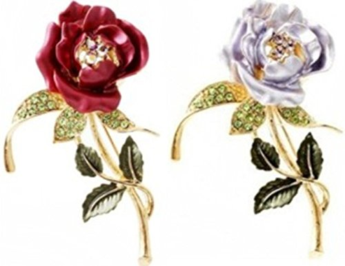 Two Sets Elegant Rose brooch Jewelry (Red & Light (Medium Clasp Adapter)