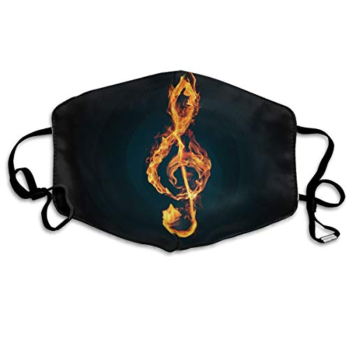 Boys Girls Dustproof Anti-Allergies Anti-Allergies Earloop Half Face Face Mask Mouth-Muffle Cleaning Windproof Polyeste Mask Adjustable Band, Fire Music Notes DIY ()