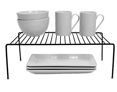 Smart Design Kitchen Storage Shelf Rack w/Plastic Feet - Large - Steel Metal - Rust Resistant Finish - Cups, Dishes, Cabinet & Pantry Organization - Kitchen (16 x 6 Inch) [Black]